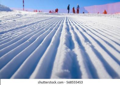 Eine Skipiste im Callaghan-Tal - Sportaktives Foto mit Platz für Ihre Montage - Illustrationsbild für das olympische Winterspiel in Pyeongchang 2018