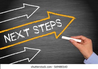 Pasos siguientes: pizarra con flechas y texto
