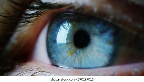 perfektes blaues Auge Makro in einer sterilen Umgebung und perfekte Vision in Auflösung 6k, Konzept, Vision der Zukunft und gesundes Leben Konzept. präzise und direkt zum Ziel sehen.