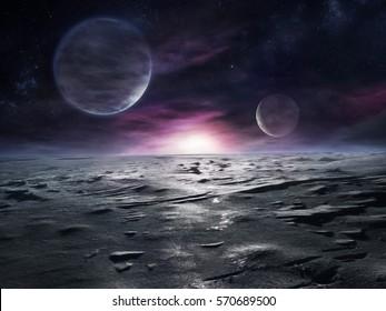 Außerirdische Landschaft des fernen eisigen Planeten mit Nebeln und zwei großen Monden am Himmel