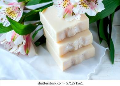 Jabón natural hecho a mano. Spa enfoque selectivo