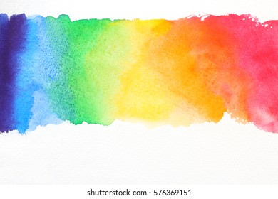 line watercolor texture in rainbow colors on white paper
