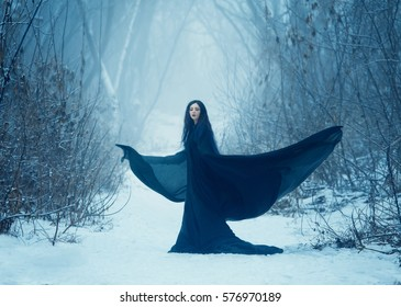 The girl a demon walks alone. The dark elven mage turns into a crow. Dark angel, a demon with wings, against the background of a winter landscape at dusk. Vampire woman