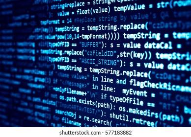 Programmiercode für Softwareentwickler. Abstrakter Computerskriptcode. Programmiercode-Bildschirm des Softwareentwicklers. Arbeitszeit für die Softwareprogrammierung. Codetext, der vollständig von mir selbst geschrieben und erstellt wurde.