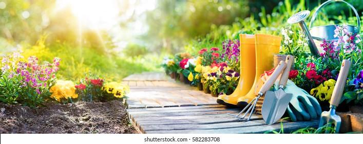 Gartenarbeit - Satz von Werkzeugen für Gärtner und Blumentöpfe im sonnigen Garten