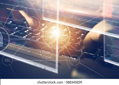 Concepto de negocio de programación de diseño web. Outsourcing de programación y codificación en la estación de trabajo portátil.