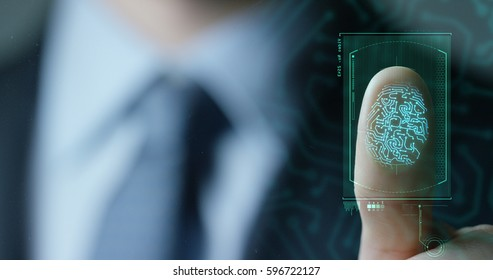 Geschäftsmann Scan Fingerabdruck biometrische Identität und Genehmigung. Konzept der Zukunft der Sicherheit und Passwortkontrolle durch Fingerabdrücke in einer immersiven Technologiezukunft und einem kybernetischen Geschäft