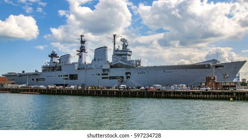 View of aircraft carrier in Portsmouth harbour