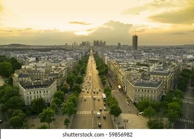 vista de París al atardecer