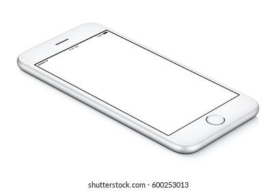 Weißes mobiles Smartphone-Modell CCW gedreht liegt auf der Oberfläche mit leerem Bildschirm lokalisiert auf weißem Hintergrund. Sie können dieses Smartphone-Modell für Ihr Webprojekt oder Ihre Designpräsentation verwenden.