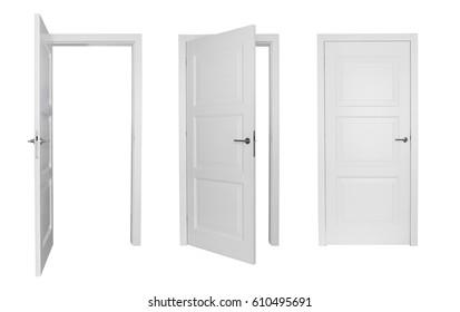 Conjunto de puerta blanca diferente aislado sobre fondo blanco.