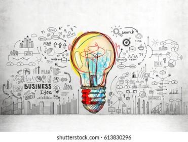 Boceto de bombilla grande y colorido rodeado de iconos de negocios más pequeños y palabras dibujadas en un muro de hormigón.
