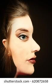 女性の顔の目の錯覚