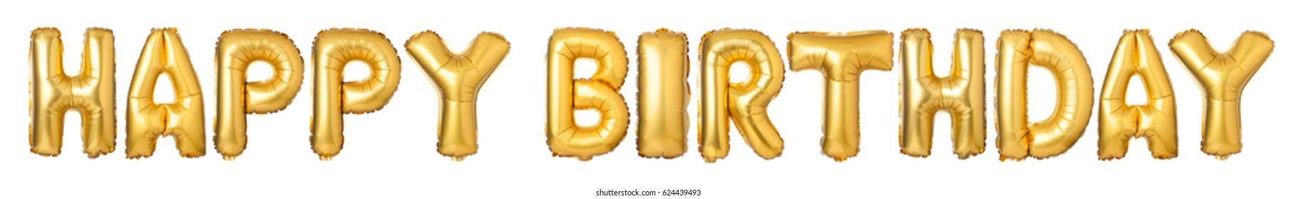 Letras mayúsculas HAPPY BIRTHDAY de globos dorados