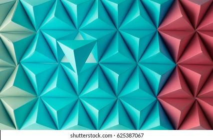 Abstrakte blaue bis rote Papierpoly aus Tetraederhintergrund. Nützlich für Visitenkarten und Web.