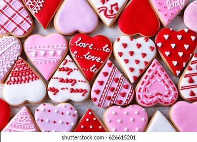 バレンタインデーのクッキーの背景、トップビュー