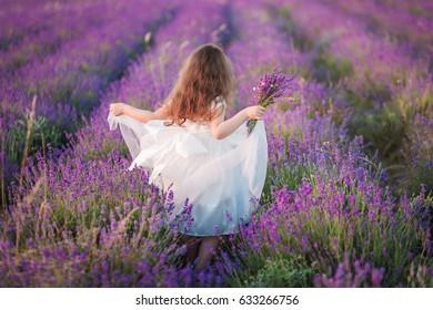 Hermosa joven con un vestido blanco caminando con un ramo en un campo de lavanda