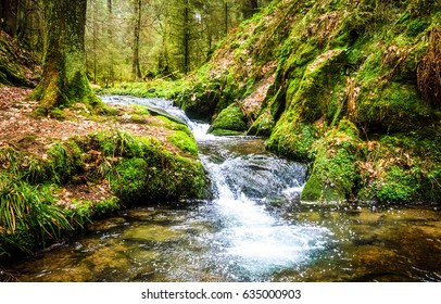 Waterfall green forest river stream landscape