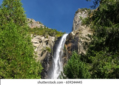 Beautiful Bridalveil Falls cut into the Granite of Yosemite National Park