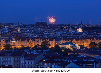 Rammstein fireworks over Prague Skyline – May 28: Prague Skyline after Dark with Rammstein fireworks over Slavia arena Eden on May 28, 2017. Vltava river bank and Old Town of Prague during sunset.