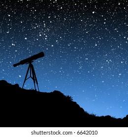 星空の下の望遠鏡