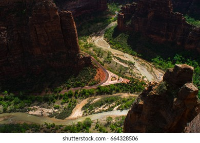 River and Roadway through Zion's canyons, down below.