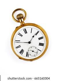 分離されたヴィンテージの黄金の懐中時計