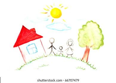 幸せな家族の絵を描く-子供が作った