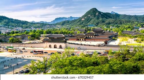 Aerial panoramic of Gyeongbokgung palace and the Blue House , Seoul, South Korea