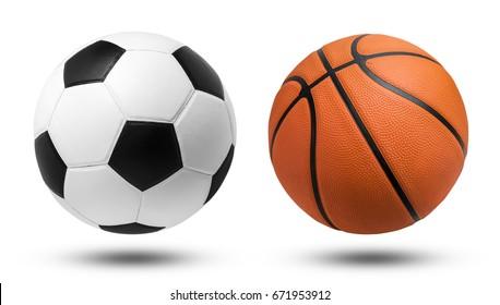 Fußball und Basketball auf isoliert. Die Datei enthält einen Beschneidungspfad.