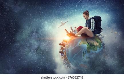 Träume davon, um die Welt zu reisen. Gemischte Medien