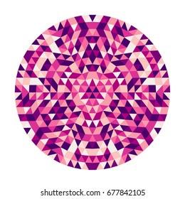丸い抽象的な幾何学的な三角形万華鏡のようなマンダラデザインシンボル-色付きの三角形からの対称ベクトルパターンアート