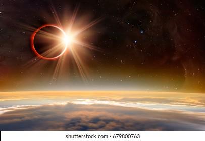 """Eclipse solar """"Elementos de esta imagen proporcionados por la NASA"""""""
