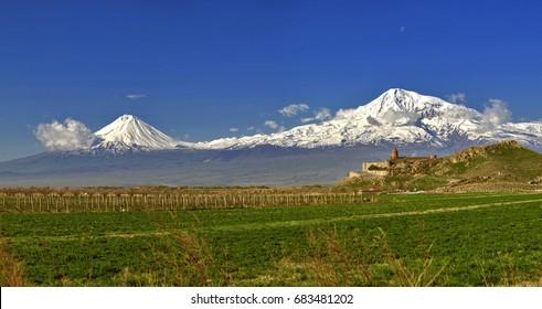 Khor Virap con el monte Ararat en segundo plano.