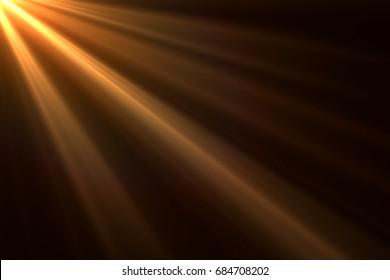 Sonnenstrahlenlicht lokalisiert auf schwarzem Hintergrund für Überlagerungsdesign