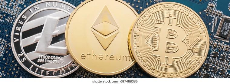 Digitale cryptocurrencies Bitcoin, Ethereum, Litecoin