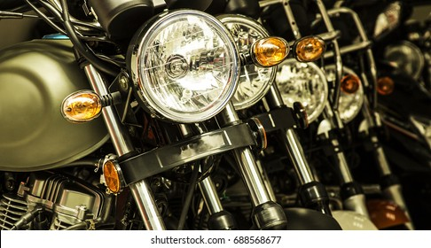 A close-up of the motorcycle