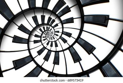 끝없는 계단처럼 특이한 추상 피아노 키보드 나선 배경 프랙탈. 흑인과 백인 피아노 건반이 둥근 나선형 반복 패턴으로 조여졌습니다. 음악 개념 왜곡 원 배경 ..
