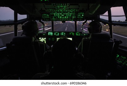 Inside the cockpit of C-130J Super Hercules.