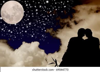 星の心を見ているロマンチックなカップル