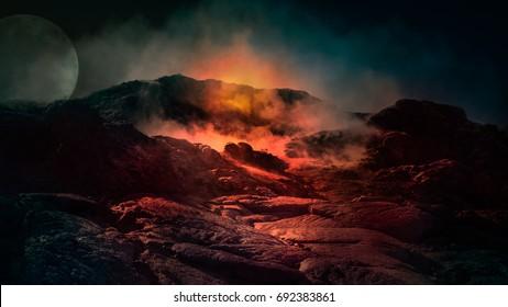 ファンタジーは、上に火、氷、煙のある活火山のシーンを閉じます。アイスランド、ヨーロッパ。