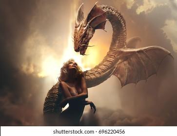 Chica rubia y dragón en el mundo de fantasía contra el fondo nublado brillante
