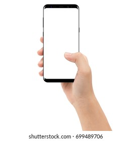 hand holding phone mobile isolated on white background clipping path inside