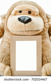 Brown monkey doll and photo frame.Picture frame that can add text.