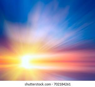 Bewegung durch die bunten Wolken zur hellen Sonne. Abstrakte Sonnenuntergangzusammensetzung