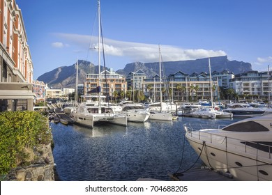 Famous V&A waterfront of Cape Town, SOUTH AFRICA, with table mountain background on the sunny day