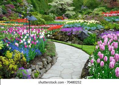 Jardín Butchart en primavera, Victoria, British Columbia, Canadá