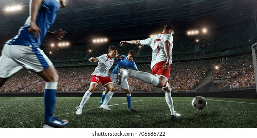 Soccer player performs an action play on a professional stadium. All players wear unbranded clothes. The stadium is made in 3D.