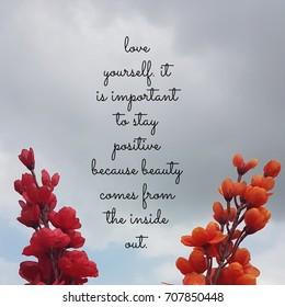 Zitat über Liebe dich selbst. Es ist wichtig, positiv zu bleiben, denn Schönheit kommt von innen heraus. Beste inspirierende und motivierende Zitate und Sprüche über Leben, Weisheit, Positiv, Erhebung