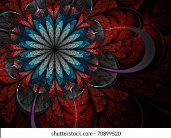 Colorful fractal flower pattern